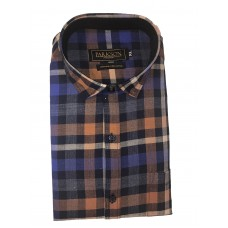 Parkson - Ble25Rust - Casual Semi Formal Checks Shirts Premium Blended Cotton WRINKLE FREE