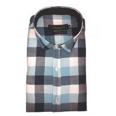 Parkson - Ble26Blue - Casual Semi Formal Checks Shirts Premium Blended Cotton WRINKLE FREE