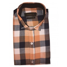Parkson - Ble26Orange - Casual Semi Formal Checks Shirts Premium Blended Cotton WRINKLE FREE