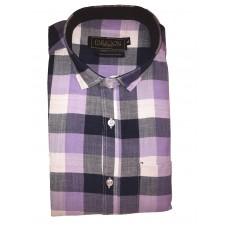 Parkson - Ble26Purple - Casual Semi Formal Checks Shirts Premium Blended Cotton WRINKLE FREE