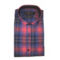 Parkson - Ble27Red - Casual Semi Formal Checks Shirts Premium Blended Cotton WRINKLE FREE