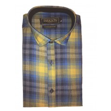Parkson - Ble27Yellow - Casual Semi Formal Checks Shirts Premium Blended Cotton WRINKLE FREE
