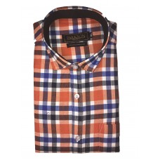Parkson - Ble28Rust - Casual Semi Formal Checks Shirts Premium Blended Cotton WRINKLE FREE
