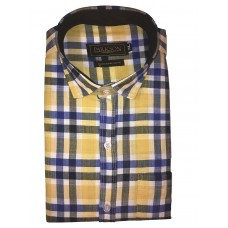 Parkson - Ble28Yellow - Casual Semi Formal Checks Shirts Premium Blended Cotton WRINKLE FREE