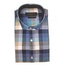 Parkson - Ble29Blue - Casual Semi Formal Checks Shirts Premium Blended Cotton WRINKLE FREE