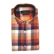 Parkson - Ble29Orange - Casual Semi Formal Checks Shirts Premium Blended Cotton WRINKLE FREE