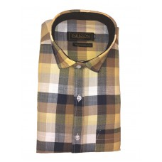 Parkson - Ble29Yellow - Casual Semi Formal Checks Shirts Premium Blended Cotton WRINKLE FREE