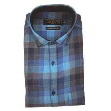 Parkson - Ble30Blue - Casual Semi Formal Checks Shirts Premium Blended Cotton WRINKLE FREE