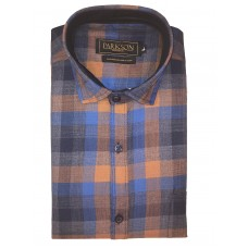 Parkson - Ble30Rust - Casual Semi Formal Checks Shirts Premium Blended Cotton WRINKLE FREE