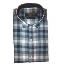 Parkson - Ble31Blue - Casual Semi Formal Checks Shirts Premium Blended Cotton WRINKLE FREE