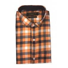 Parkson - Ble31Rust - Casual Semi Formal Checks Shirts Premium Blended Cotton WRINKLE FREE