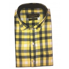 Parkson - Ble31Yellow - Casual Semi Formal Checks Shirts Premium Blended Cotton WRINKLE FREE