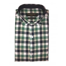 Parkson - Ble32Green - Casual Semi Formal Checks Shirts Premium Blended Cotton WRINKLE FREE