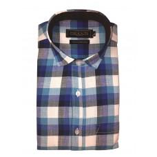 Parkson - Ble33Blue - Casual Semi Formal Checks Shirts Premium Blended Cotton WRINKLE FREE