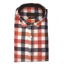 Parkson - Ble33Orange - Casual Semi Formal Checks Shirts Premium Blended Cotton WRINKLE FREE
