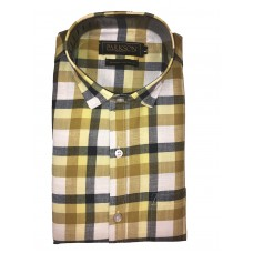 Parkson - Ble33Yellow - Casual Semi Formal Checks Shirts Premium Blended Cotton WRINKLE FREE