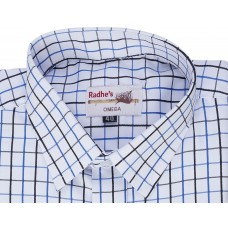 Radhes -OMG111Blue  FORMAL Office Wear Shirts WRINKLE FREE Checks Shirts Everyday Wear