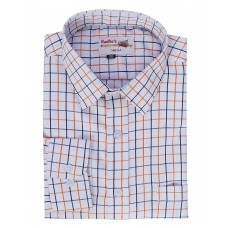 Radhes -OMG111Orange FORMAL Office Wear Shirts WRINKLE FREE Checks Shirts Everyday Wear