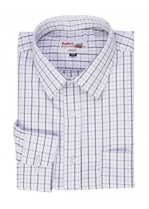 Radhes -OMG74Brown  FORMAL Office Wear Shirts WRINKLE FREE Checks Shirts Everyday Wear