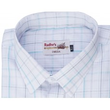 Radhes -AMBBlue  FORMAL Office Wear Shirts WRINKLE FREE Checks Shirts Everyday Wear